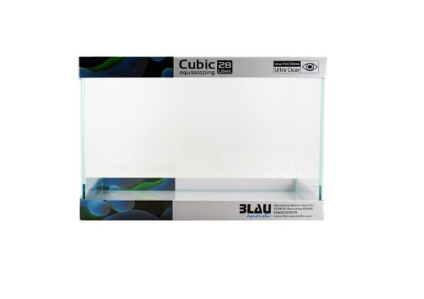 BLAU Cubic Aquascaping Rechteck 28 Liter Weißglas...