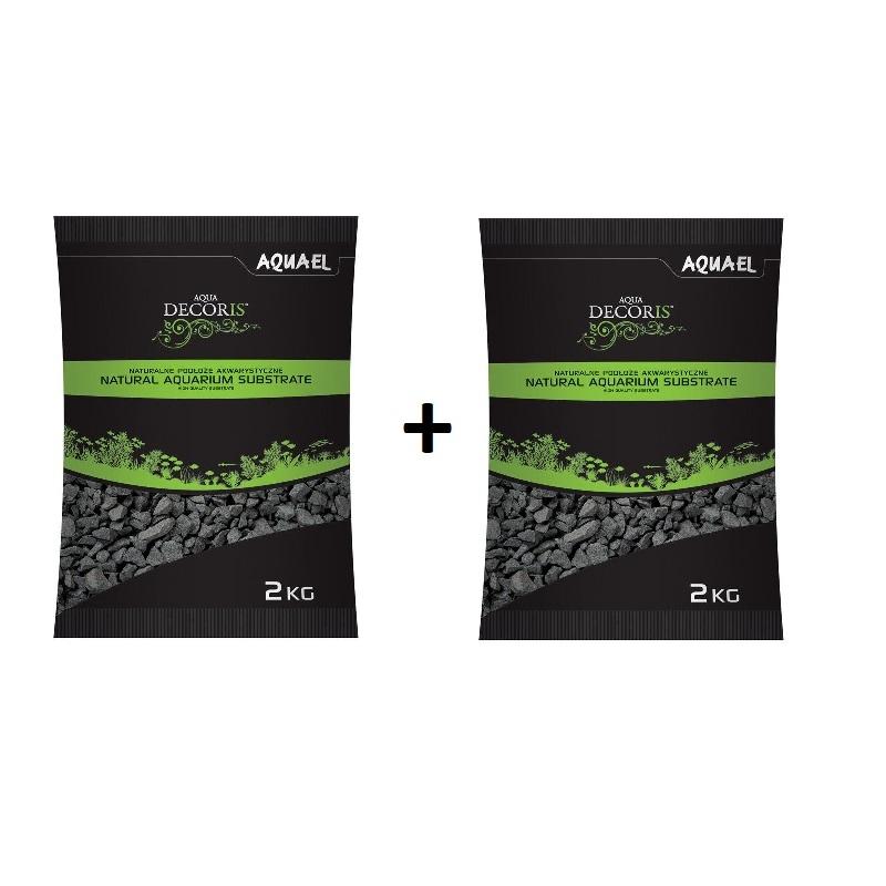 AquaEL Aquarienkies schwarz 2-4 mm 2 x 2 kg Bodengrund Kies Aquarium Basalt Fische Pflanzen