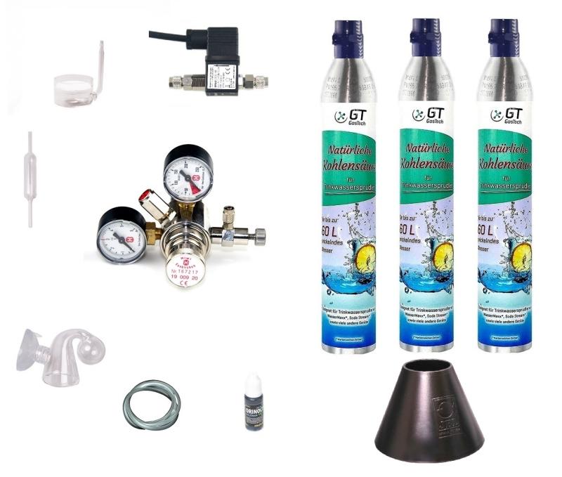 CO2 Anlage Hiwi 425 Profi mit Wassersprudler-Flasche (kompatibel zu Sodastream u.a.) und Nachtabschaltung