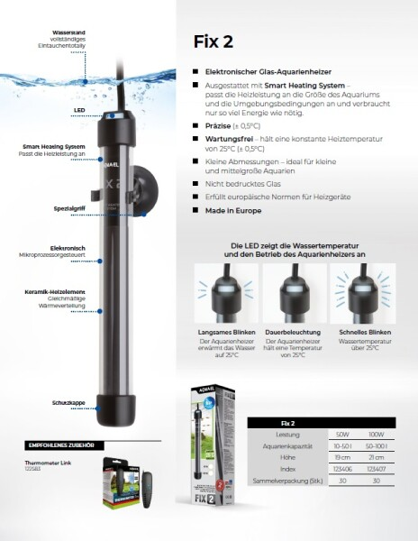 Aquael Heizer Fix 2 100 Watt 50-100 l