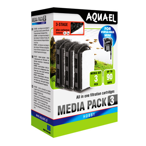 3x replacement filters for AquaEL Versamax Mini CARBOMAX
