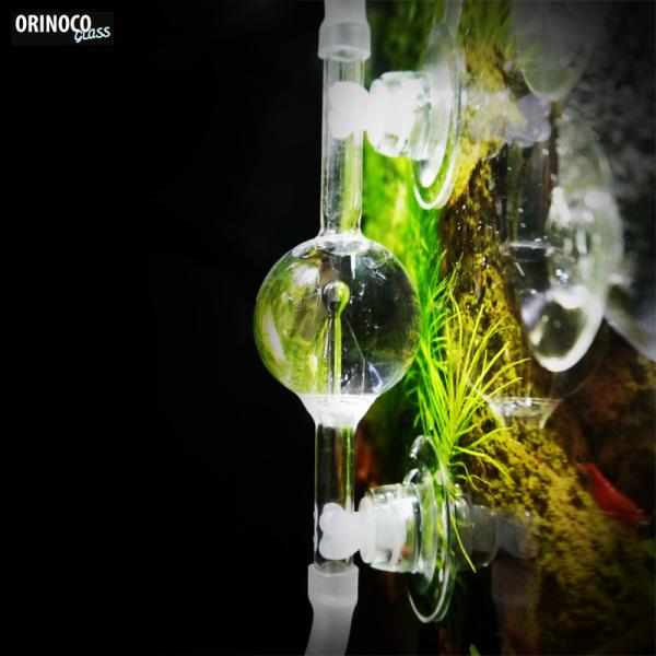 OrinocoGlass CO2 bubble counter made of glass, round